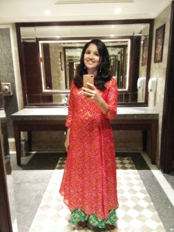 Another one. Origin story: I purchased this Bandhani dress in Jaipur while there for the Lit fest