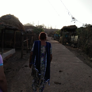 My grandma visited me in the village. Here on a early morning walk around village Baretha