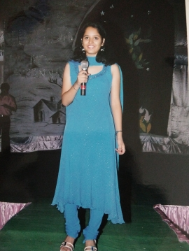 My first time on stage in college. Freshers. Age 18