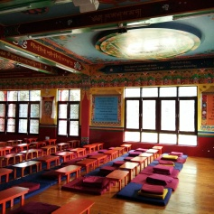 The massive windows on both sides of the gompa let in a lot of natural light