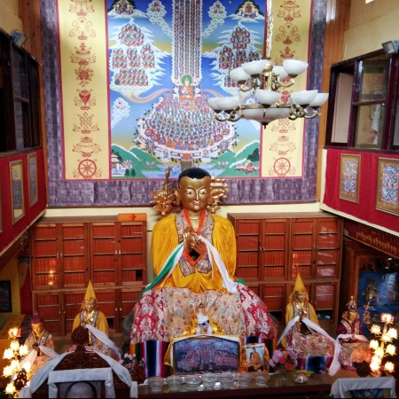 A look at the Lama Tsongkhapa statue and the massive thangka behind it from the first floor.