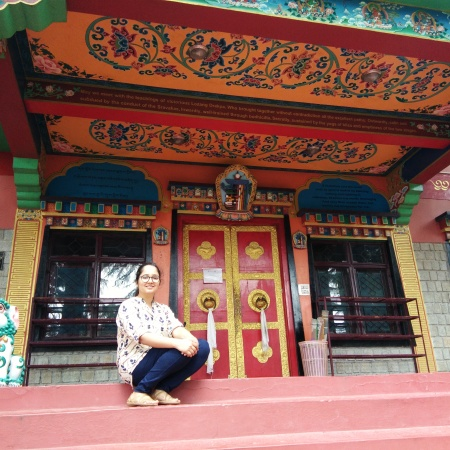 On the steps of the Gompa