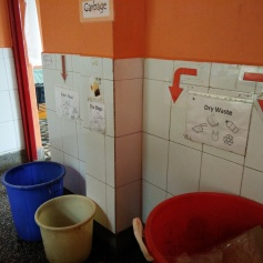 Waste segregation at source. Tushita was very conscientiousness about recycling and composting